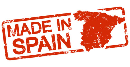 A grunge stamp with frame colored red and text Made in Spain.