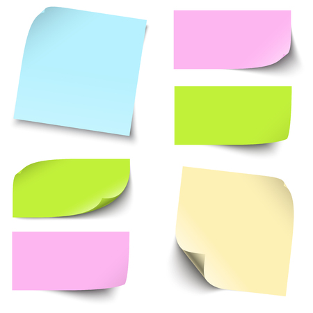 A collection of different colored sticky notes with shadow.