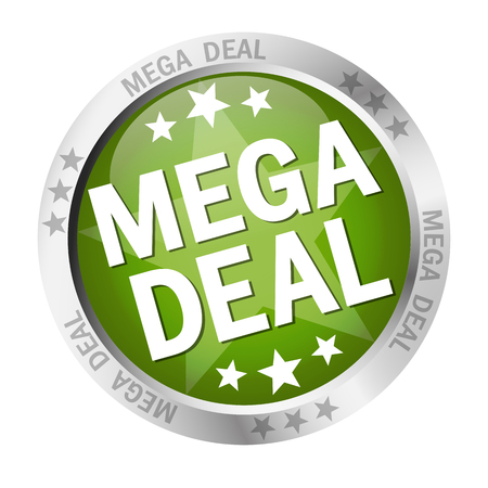 A colored button with banner and text Mega Deal.