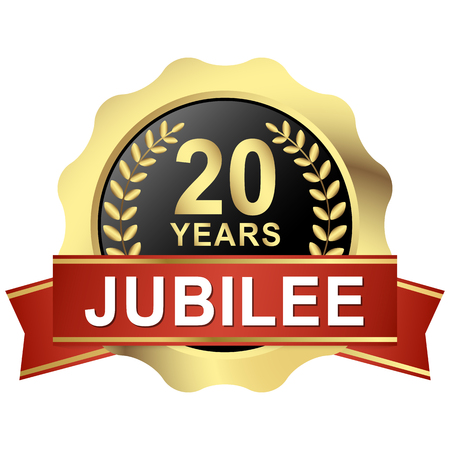 seal of approval: gold button with red banner for 20 years jubilee Illustration