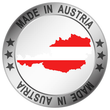 round button with silver frame and text Made in Austria Illustration