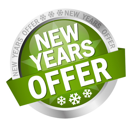 colored button with banner and text New Years Offer Illustration