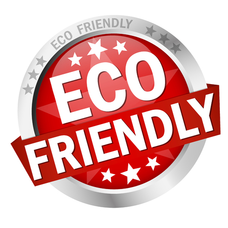 seal of approval: colored button with banner and text Eco friendly