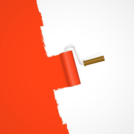 repainting with paint roller color red on white background