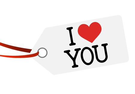 white hang tag with red ribbon and text I LOVE YOU