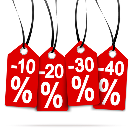 four red hang tags with discounts and black ribbons