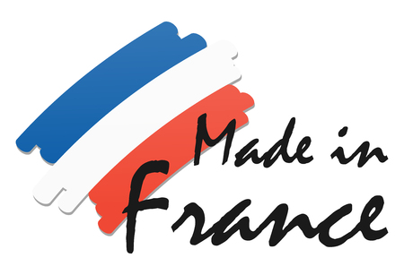 seal of quality with country flag and text Made in France