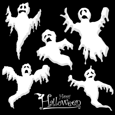 collection of different white colored illustrated spooks for Halloween layouts
