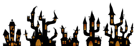 collection of different black colored illustrated castles for Halloween layouts