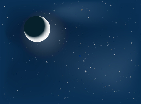 illustration of crescent moon and starry night background