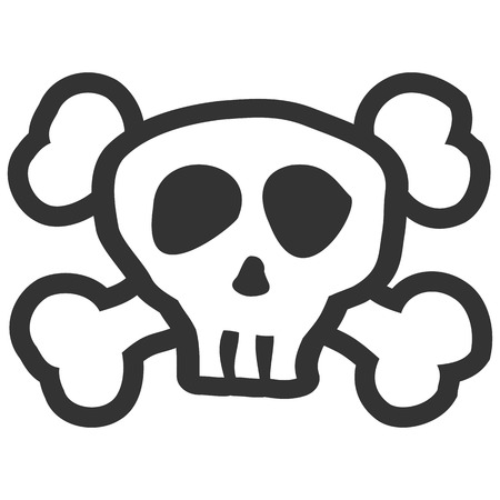 illustrated skull and crossbones black colored on white background for Halloween layouts