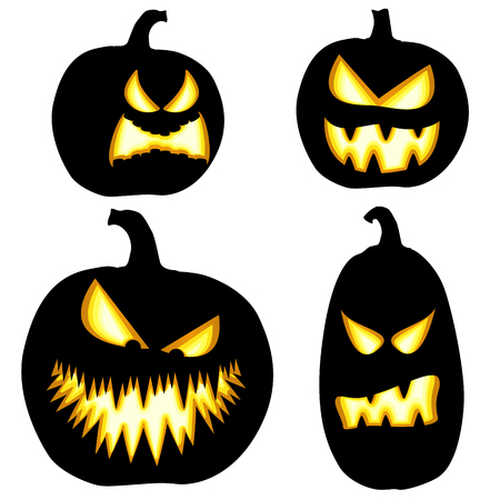 collection of different black colored illustrated pumpkins for Halloween layouts