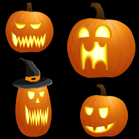 collection of different orange colored illustrated pumpkins for Halloween layouts Illustration