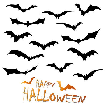 collection of different black colored illustrated bats for Halloween layouts