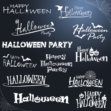 collection of different white colored illustrated letterings for Halloween layouts