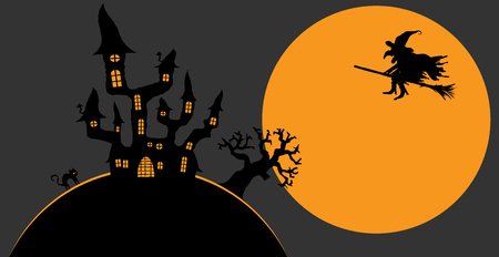 moon shadow: dark castle and witch in front of full moon with scary illustrated elements for Halloween background layouts