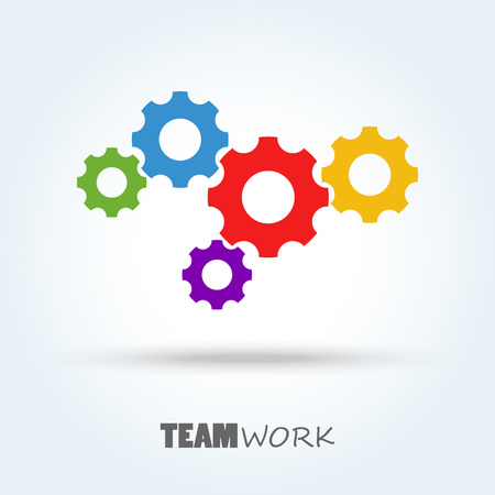 colored gear wheels for team work symbolism Illustration