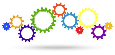 gekleurde tandwielen voor samenwerking of teamwork symboliek