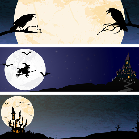 three banners with crows, a witch and a dark castle in front of full moon with scary illustrated elements for Halloween background layouts