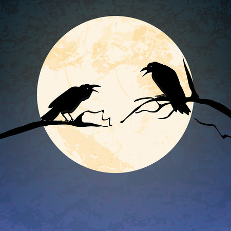 illustrated crows in front of full moon sitting on branchs for Halloween background layouts