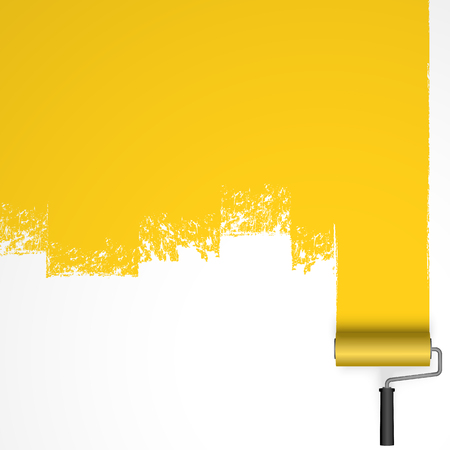 repainting with an paint roller with marking colored yellow