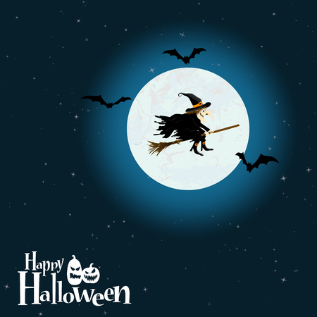 Witch in front of full moon with scary illustrated elements for Halloween background layouts.