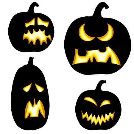 Collection of different black colored illustrated pumpkins for Halloween layouts.