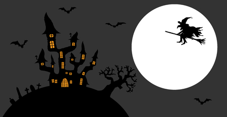 Dark castle and witch in front of full moon with scary illustrated elements for Halloween background layouts. Illustration