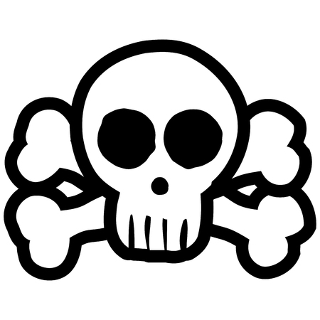 Illustrated skull and crossbones black colored on white background for Halloween layouts.