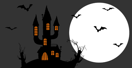Dark castle in front of full moon with scary illustrated elements for Halloween background layouts. Illustration