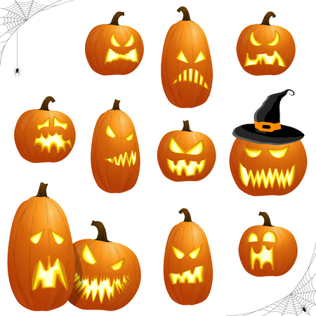 Collection of different orange colored illustrated pumpkins for Halloween layouts.