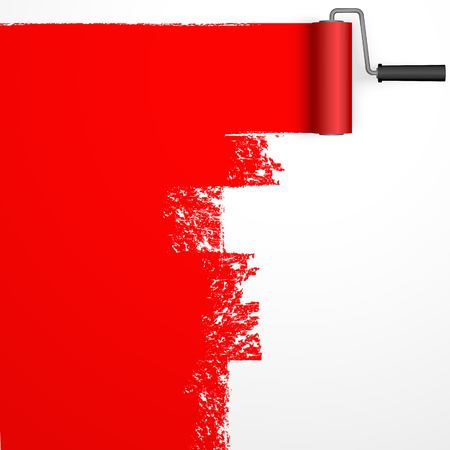 Repainting with an paint roller with marking colored red.