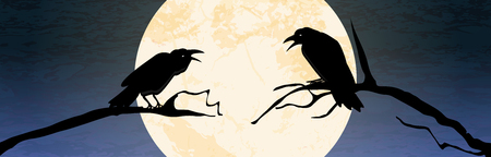 Illustrated crows in front of full moon sitting on branches for Halloween background layouts.