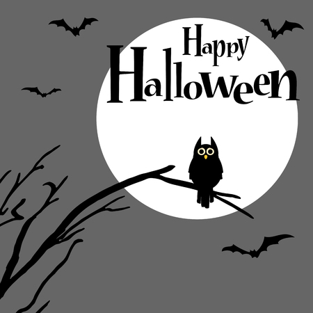 Owl in front of full moon with scary illustrated elements for Halloween background layouts. Illustration