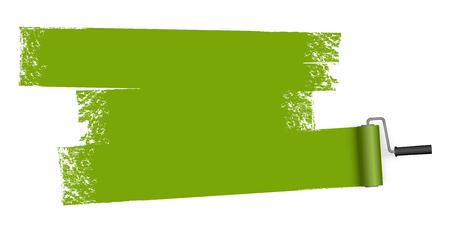 Isolato su sfondo bianco rullo di vernice con marcatura dipinta di colore verde.