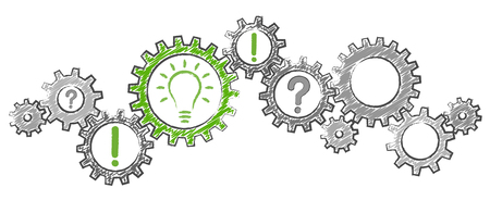 gray scribble gear wheels with green light bulb symbolizing idea or solution
