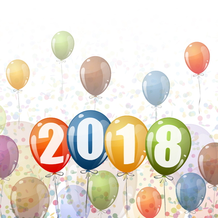 confetti and colored balloons with numbers for New Year 2018 Illustration