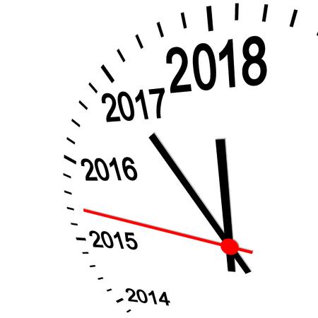 three dimensional clock showing New Year 2018 at 12 oclock