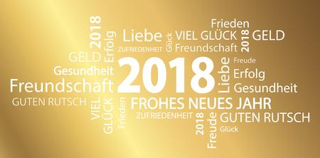 Wortwolke mit Neujahr 2018 Grüße und goldenen Hintergrund