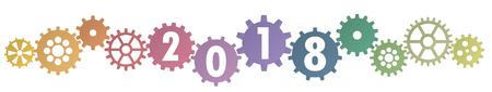 Kooperationszahnräder in verschiedenen Farben für das neue Jahr 2018 Vektorgrafik