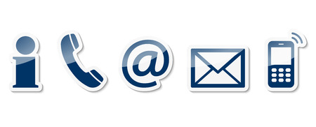 Contact Us – set of blue colored icons with white frame and reflection Ilustrace