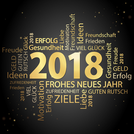 Word cloud with new year 2018 greetings colored gold and black background