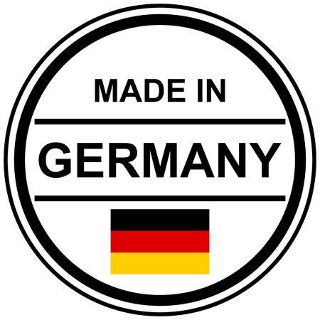 Round stamp with text Made in Germany and country flag