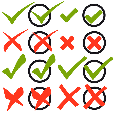 Collection of red crosses and green check marks