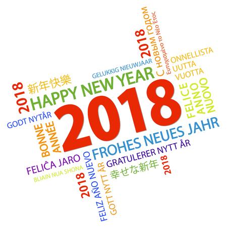 Wortwolke mit neuem Jahr 2018 und weißem Hintergrund
