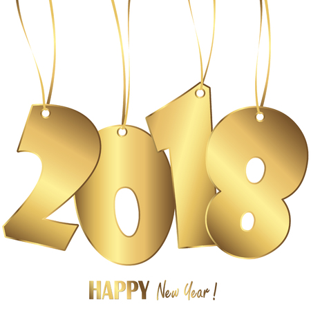 gold colored hang tag numbers for New Year 2018