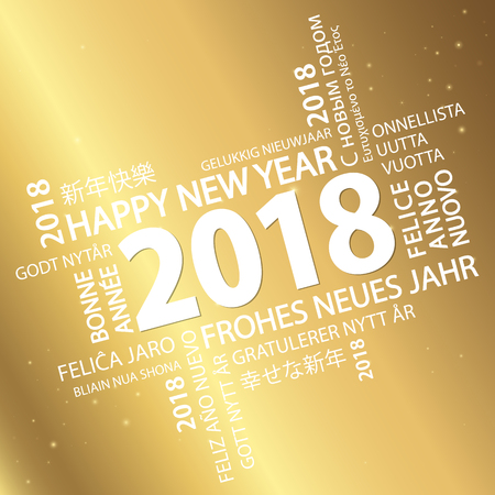 word cloud with new year 2018 greetings and golden background