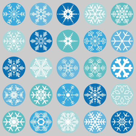 collection of different abstract snow flakes for christmas and winter time Illustration
