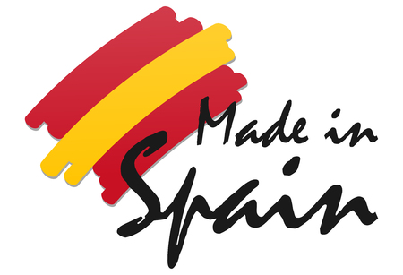 seal of quality with country flag and text Made in Spain