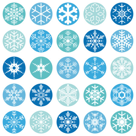 collection of different abstract snow flakes for christmas and winter time 向量圖像